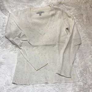 Women's V-Neck Knit Cream Sweater- size small